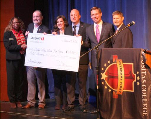 Los Positas College staff accepting Safeway $30,000 contribution.